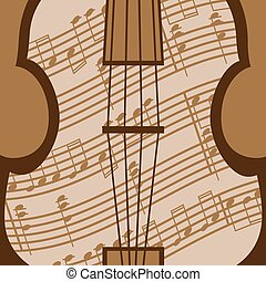Viola vector - Beautiful viola with music sheet in the brown...