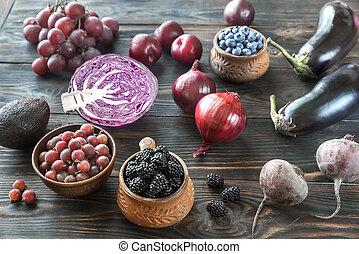 viola, verdura, frutte