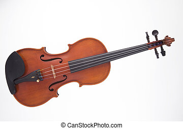 A professional wooden violin viola isolated against a white background in the horizontal format.