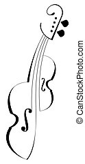 Viola - isolated vector outline. Tattoo. Black icon on white background.