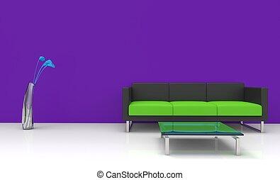 viola, vivente, stanza moderna