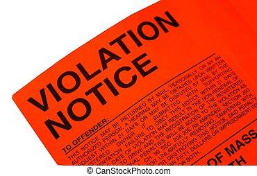 violation, billet, stationnement