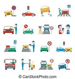 violation, ensemble, trafic, icônes