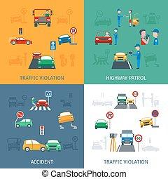 violation, ensemble, trafic
