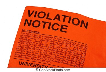Violation parking ticket left on a motor vehicle.