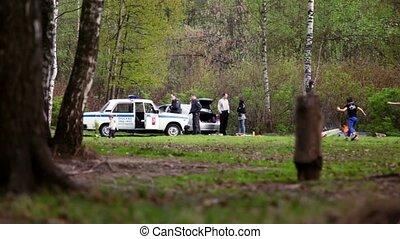 violators, voiture, deux, flics, police, parler