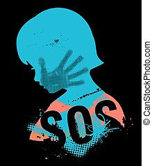 Little girl head grunge silhouette with with hand print after hand slap and sign SOS. Illustration on the black background.. Vector available.