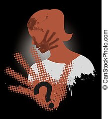Young Woman grunge silhouette covering strike with hand print on the face. Vector available.