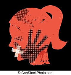 Young woman grunge silhouette with hand print on the face and with taped mouth. Vector available.