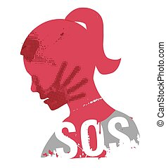 Young Woman head grunge silhouette with hand print on the face and sign SOS. Illustration on the white background.. Vector available.