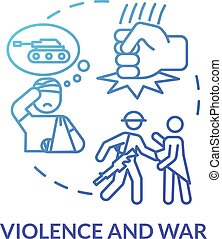 Violence and war, military injuries concept icon. Intrusion...