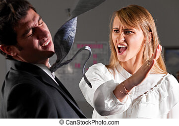violence at office - angry businesswoman is slapping across...