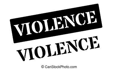 Violence black rubber stamp on white