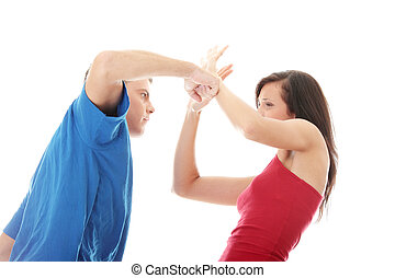 Violence concept - Man and woman conflict.Home violence...