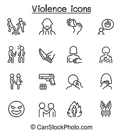 Violence, human trafficking, abuse, sexual harassment icon ...