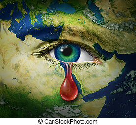 Violence in the middle east as a map of countries as Egypt Syria Iran Israel Saudi Arabia Libya Yemen Iraq with an eye that is crying a red tear of blood as a symbol of the brutality and tragic victims of war and conflict.