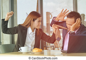 Violence in the workplace,Angry boss and the worker