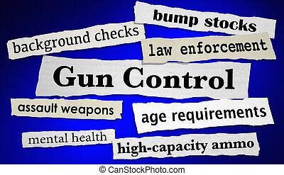 violence, réduire, nouvelles, illustration, contrôle, shootings, fusil, gros titres, 3d