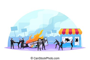 Violence Riots, Looting Concept. Aggressive Masked ...