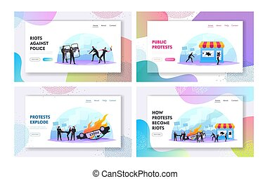 Violence Riots, Looting Landing Page Template Set. ...