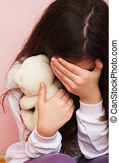 Violence - Sad and Lonely Girl Crying with a Hand Covering...