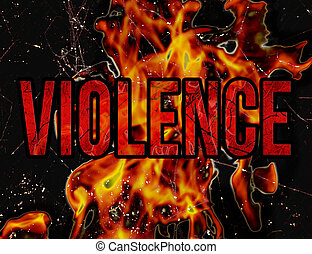 Violence Typography Grunge Style Illustration Design -...