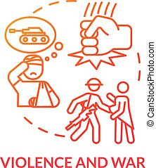 Violence, war crimes, military conflict concept icon. Enemy ...