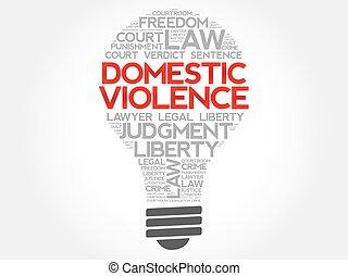 violencia, bombilla, palabra, nube, doméstico