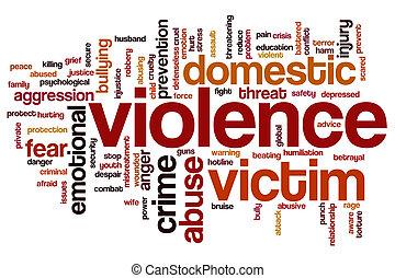 violencia, palabra, nube, taza