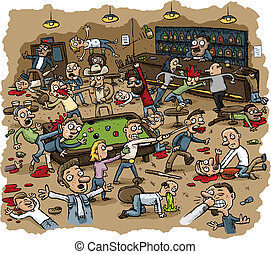 Cartoon scene of violence as a bar erupts into a huge violent brawl.