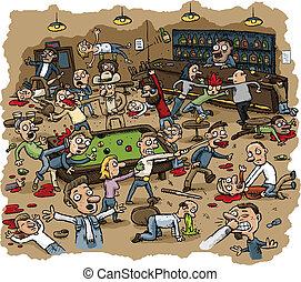 Violent Bar Brawl - Cartoon scene of violence as a bar...