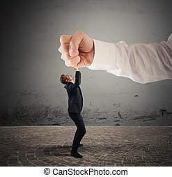 Violent boss - Small businessman crushed by a big punch