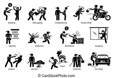 Pictogram depicts various criminal activities that include robber, kidnappers, thief, bank heist, assault, murder, arson, and extortion.