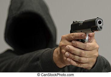 Violent Criminal - Hooded man points a gun