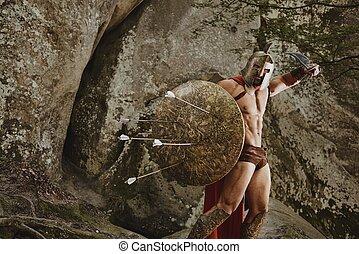 Violent warrior in gladiator armor