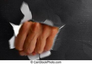 violently, agujero, perforación, thru, hombre, puño