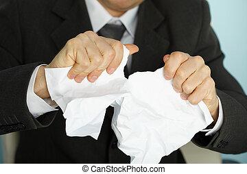 violently, biznesmen, papier, znękany