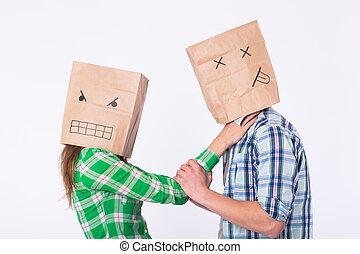 violenza, contro, man., aggressivo, donna, con, borsa, su, testa, strangolare, lei, man., negativo, relazioni, in, partnership.