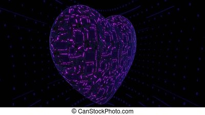 3D digital background, heart with mounting board and chips. Digital neural network. CPU energy pulsation. High quality 4k footage