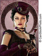 Violet - a mysterious lady in vintage style