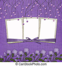 Violet abstract background with suspended beads and frames