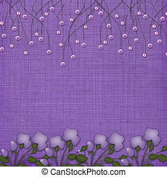 Violet abstract background with suspended beads and flowers