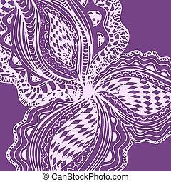 Violet abstract floral element for decorative design.