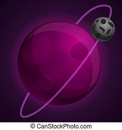 Violet abstract planet icon, cartoon style