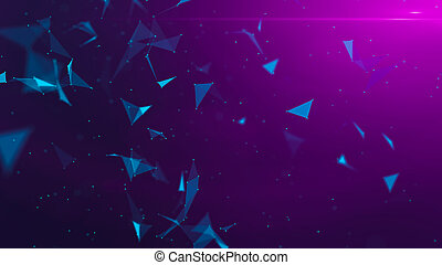 Violet abstract technology modern background with spotted particles and plexus connected triangle lines. 3D rendering.
