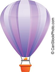 Violet air balloon icon, cartoon style