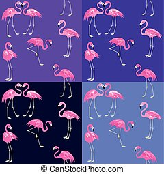 Violet and blue fashion wallpaper with cute pink flamingo
