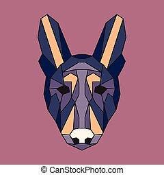Violet and orange low poly dog