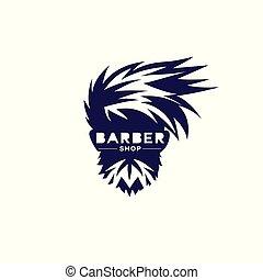 Violet and white barber shop logo vector illustration.
