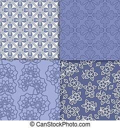 Violet and white floral wallpaper pattern set